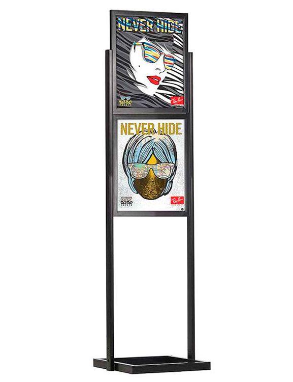 ECO Infoboard 2 rámy na plakát B2 - Černý