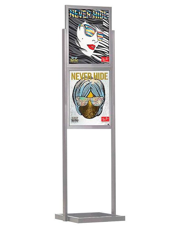 ECO Infoboard 2 rámy na plakát B2 - Stříbrný