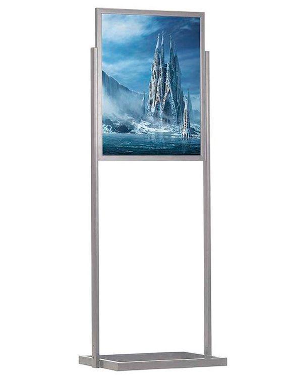 ECO Infoboard s rámem na plakát B2 - Stříbrný