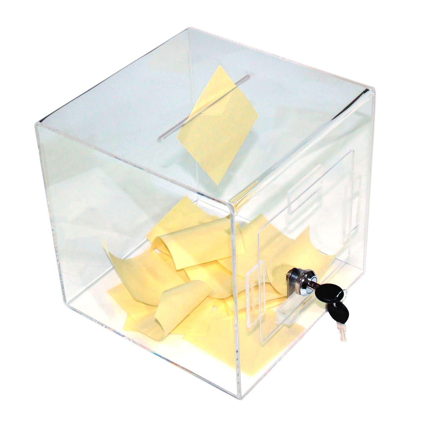 Uzamykatelný Box na peněžní dary, losy a vizitky - Čirý